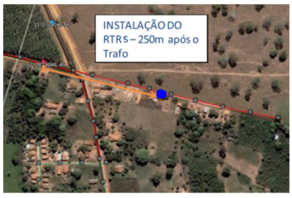 Figura 01: Localização do transformador e do ponto de instalação do RTRS